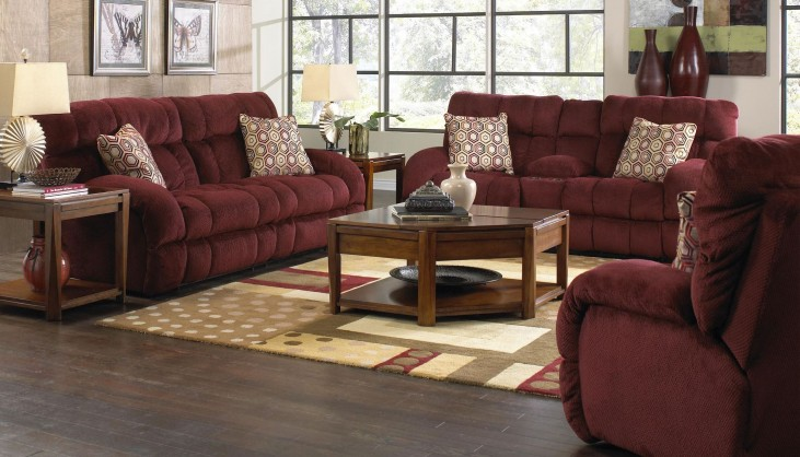 Siesta Wine Reclining Living Room Set