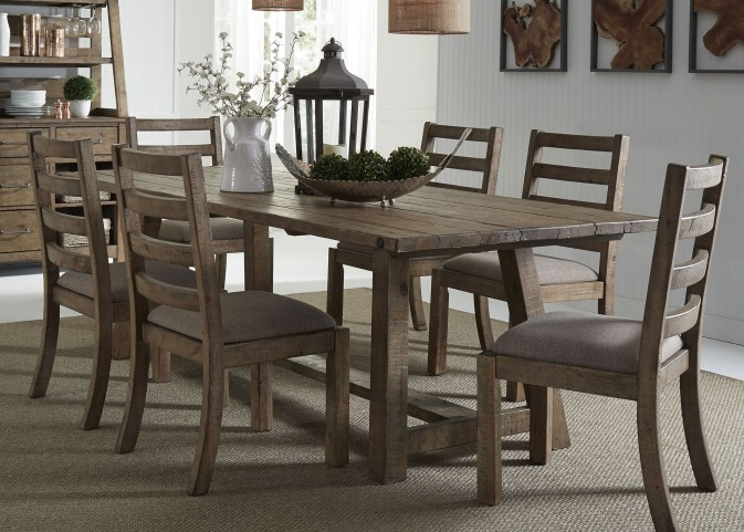 Prescott Antique Honey Trestle Dining Room Set