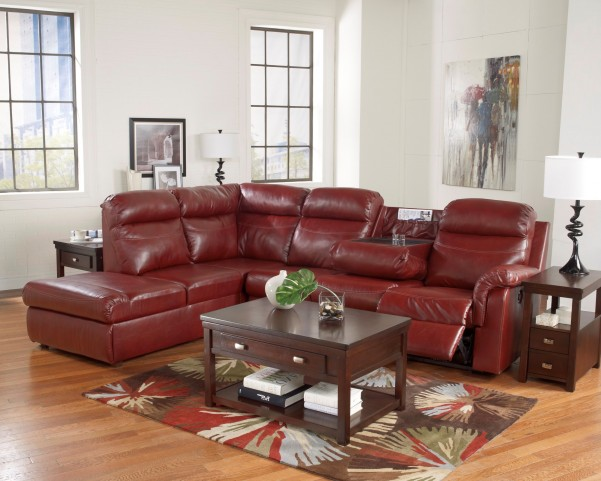 Primematic DuraBlend Crimson Left Arm Facing Sectional
