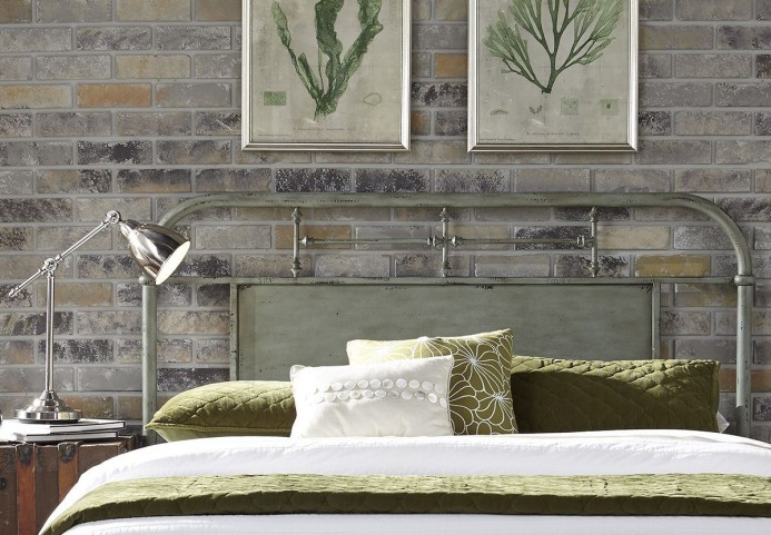 Vintage Distressed Green Twin Metal Headboard