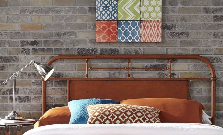Vintage Distressed Orange Twin Metal Headboard