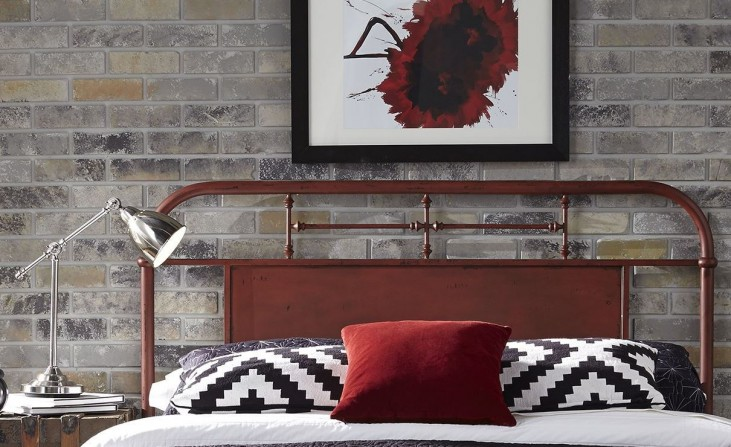 Vintage Distressed Red Queen Metal Headboard