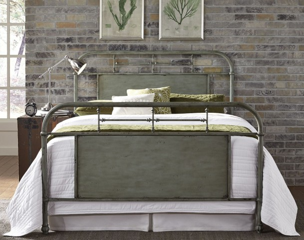 Vintage Distressed Green Queen Metal Bed