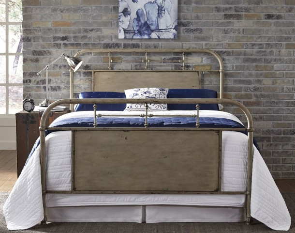 Vintage Distressed White Queen Metal Bed