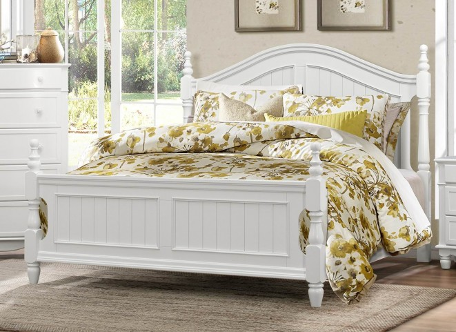 Clementine White King Poster Bed