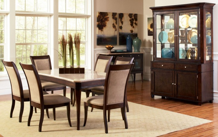 Marseille Merlot Cherry Rectangular Dining Room Set