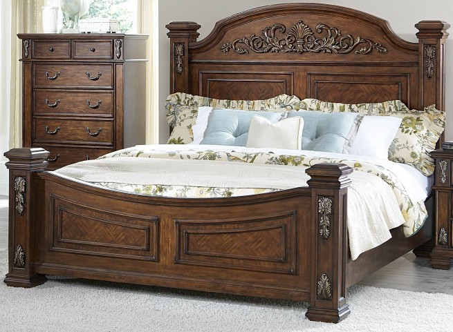 Donata Falls Warm Brown King Poster Bed