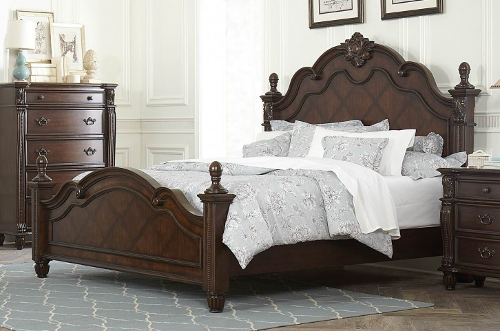 Hadley Row Dark Cherry Cal. King Poster Bed