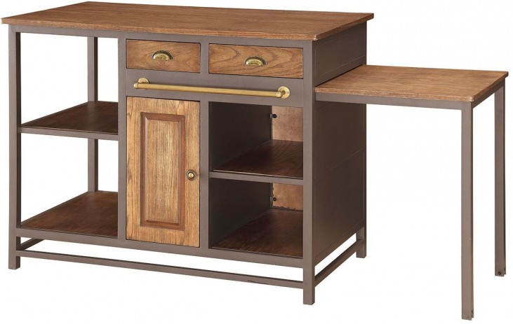 Wire-Brushed Wood Kitchen Island