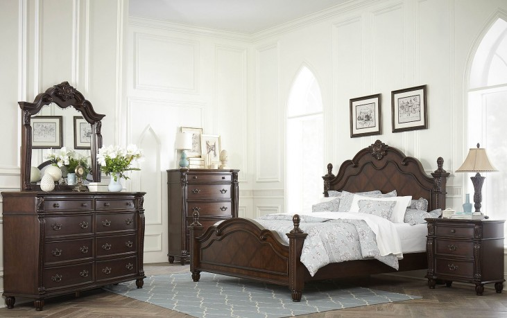 Hadley Row Dark Cherry Poster Bedroom Set