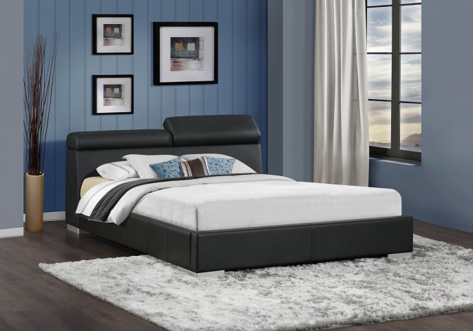 Maya Black Vinyl Cal. King Platform Bed