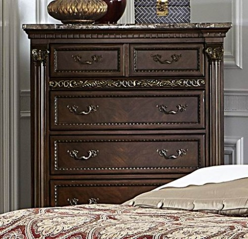 Russian Hill Warm Cherry Faux Marble Top Chest