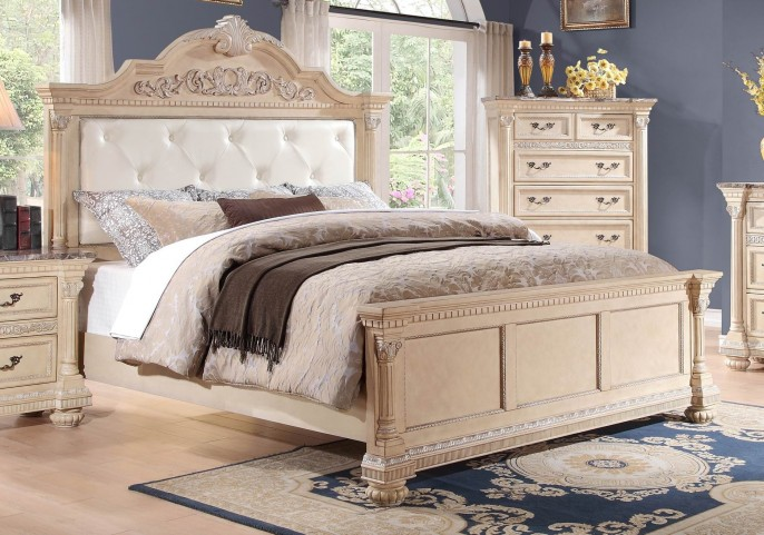 Russian Hill Antique White Vinyl Cal. King Panel Bed