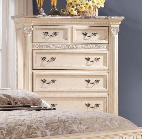 Russian Hill Antique White Faux Marble Top Chest