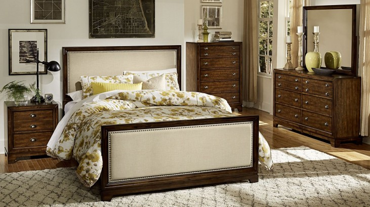 Bernal Heights Warm Cherry Panel Bedroom Set