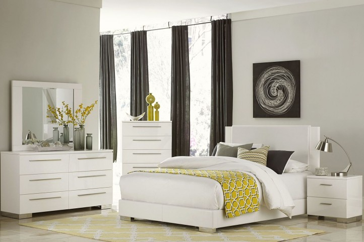 Linnea White High Gloss Vinyl Platform Bedroom Set