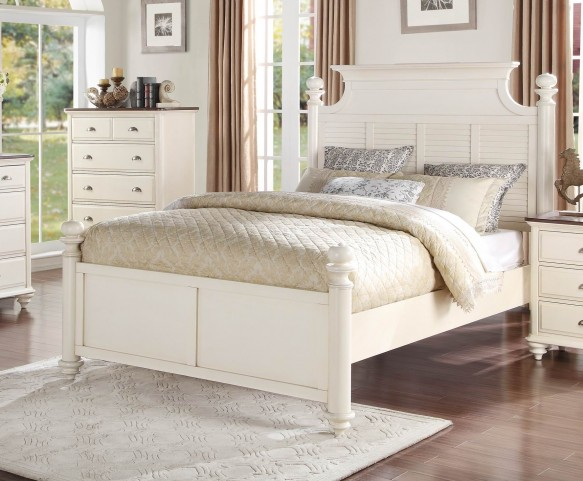 Floresville Antique White Queen Platform Bed
