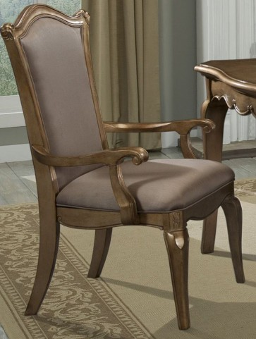Chambord Champagne Gold Faux Silk Arm Chair Set of 2