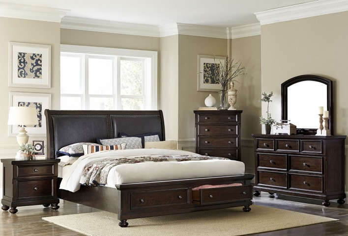 Faust Dark Cherry Storage Platform Bedroom Set
