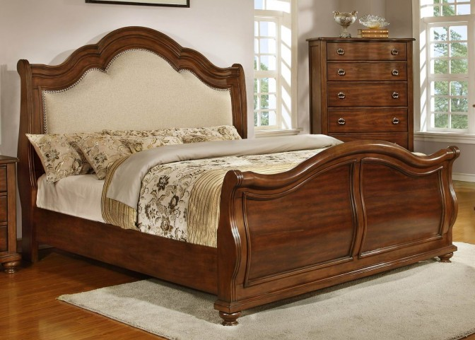 Davina Brown Cherry Cal. King Sleigh Bed