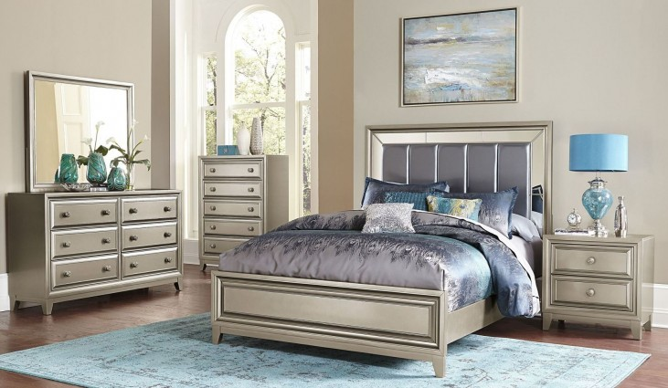 Hedy Silver Vinyl Panel Bedroom Set