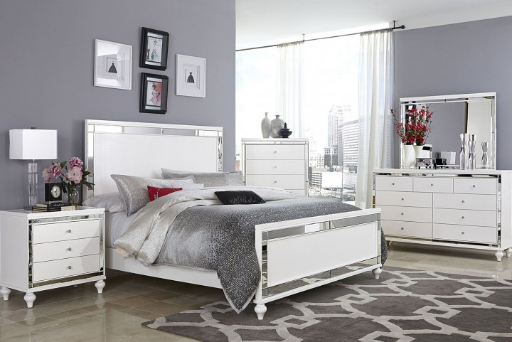 Alonza Bright White Panel Bedroom Set