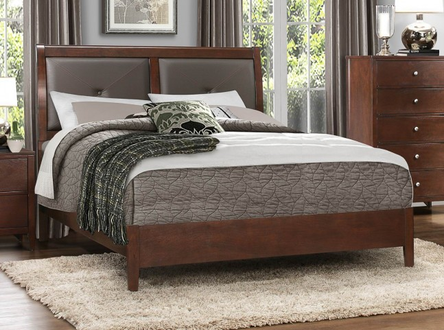 Cullen Brown Cherry Vinyl Queen Platform Bed