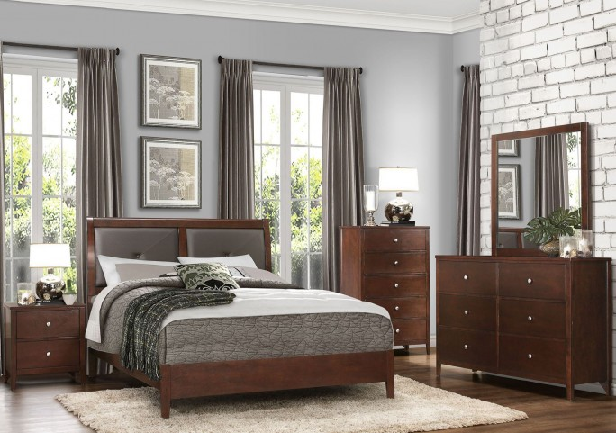 Cullen Brown Cherry Vinyl Platform Bedroom Set