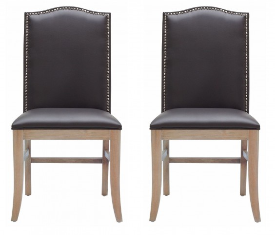 Maison Gray Leather Dining Chair Set of 2
