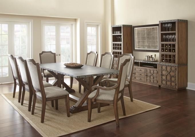 Wayland Brushed Tobacco Metal Top Rectangular Dining Room Set