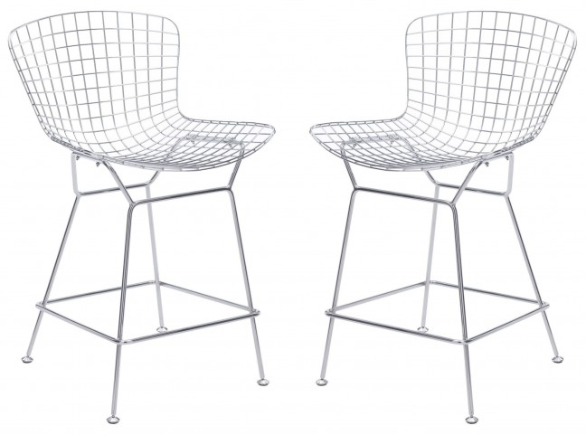 Wire Chrome Counter Chair Set of 2