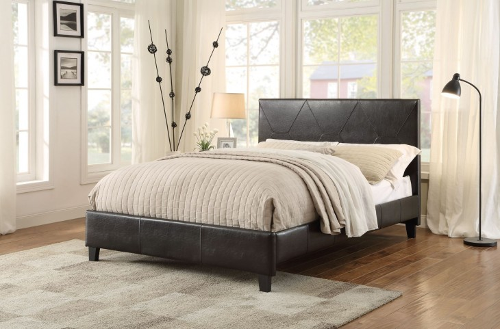 Deleon Dark Brown Vinyl King Platform Bed