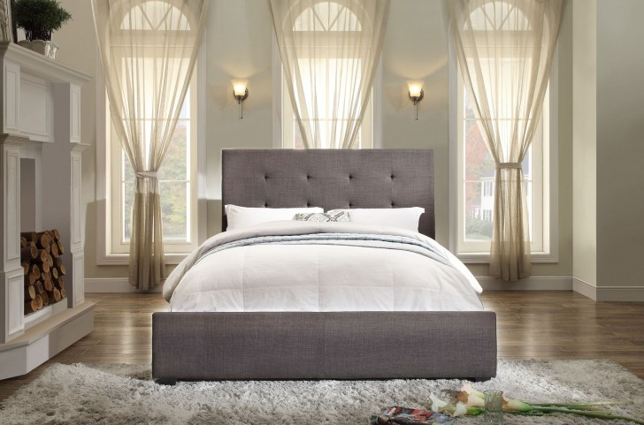 Cadmus Dark Grey Fabric Queen Bed