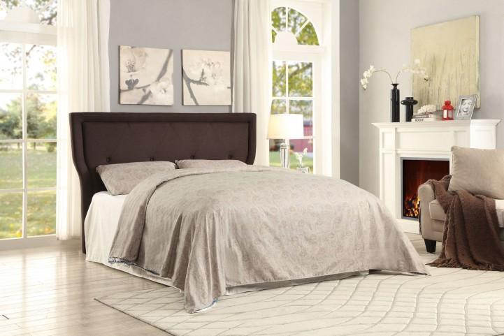 Thain Grey Fabric King Platform Bed