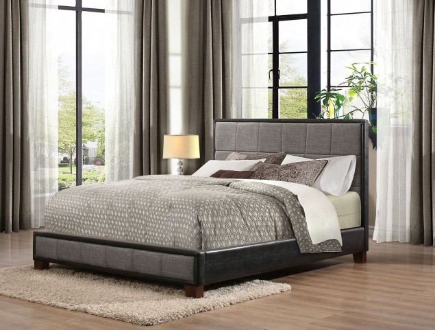 Quinton Fabric & Vinyl Queen Platform Bed