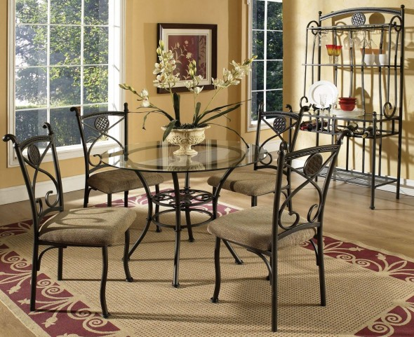 Brookfield Glass Round Dining Room Set