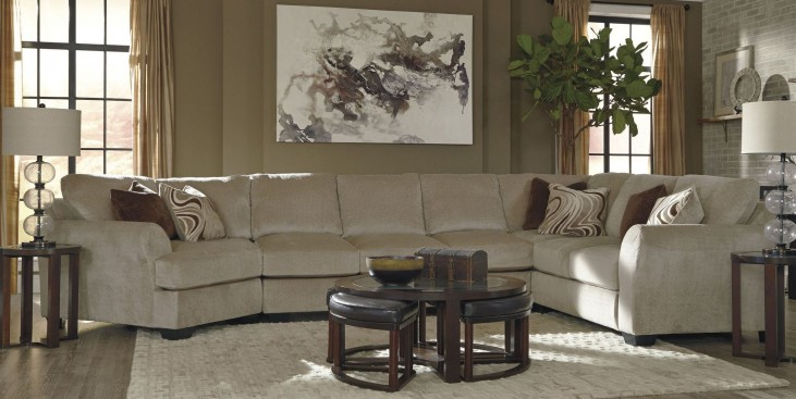 Hazes Fleece LAF Cuddler Sofa Sectional