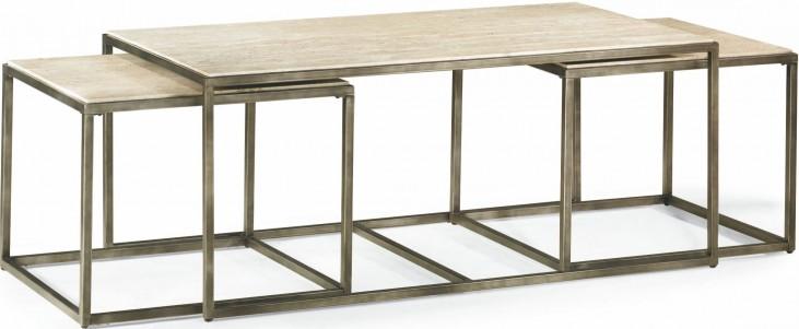 Modern Basics Natural Travertine Rectangular Cocktail Table