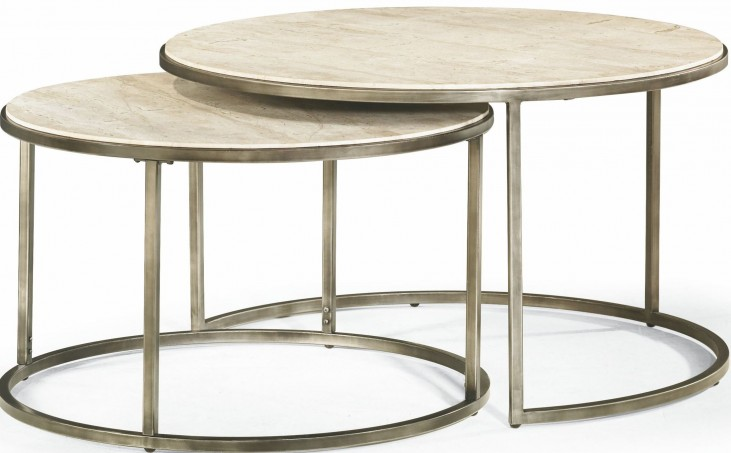 Modern Basics Natural Travertine Round Cocktail Table
