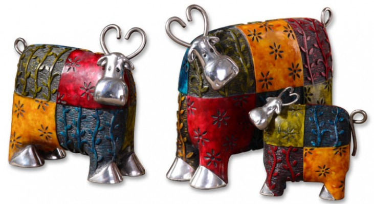 Colorful Cows Metal Figurines, Set of 3