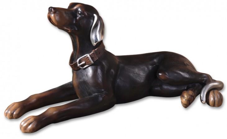 Resting Dog Aged Black Statue