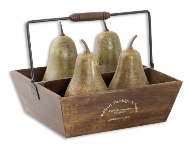 Decorative Pears In Basket Set of 5