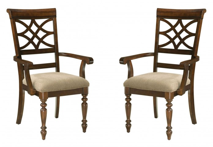 Woodmont Brown Cherry Upholstered Arm Chair Set of 2