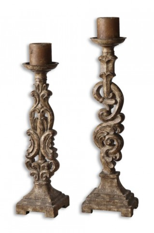 Gia Antique Candleholders, Set of 2