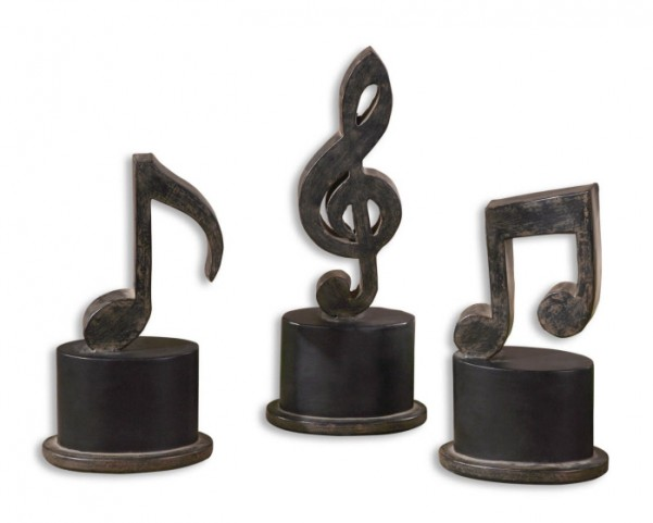 Music Notes Metal Figurines, Set of 3