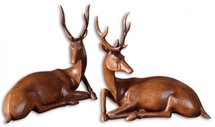 Buck Wood Tone Statues, Set of 2