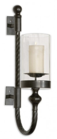 Garvin Twist Metal Sconce With Candle