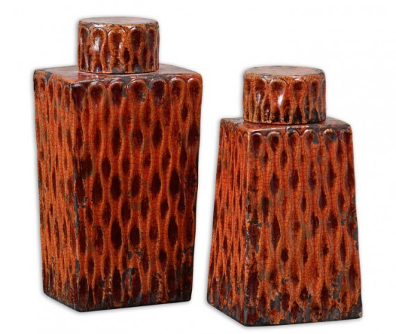 Raisa Burnt Orange Containers, Set of 2