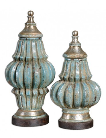 Fatima Sky Blue Decorative Urns, Set of 2