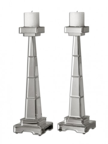 Alanna Mirrored Candleholders  Set of 2